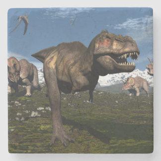 Tyrannosaurus rex attacked by triceratops dinosaur stone coaster
