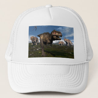 Tyrannosaurus rex attacked by triceratops dinosaur trucker hat