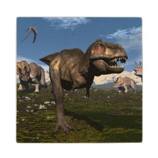 Tyrannosaurus rex attacked by triceratops dinosaur wood coaster
