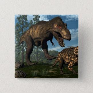 Tyrannosaurus rex attacking einiosaurus dinosaur 15 cm square badge