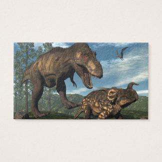 Tyrannosaurus rex attacking einiosaurus dinosaur business card