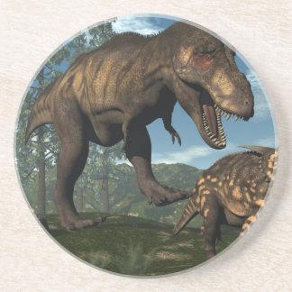 Tyrannosaurus rex attacking einiosaurus dinosaur coaster