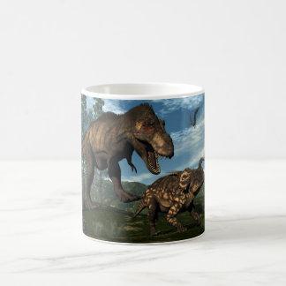 Tyrannosaurus rex attacking einiosaurus dinosaur coffee mug