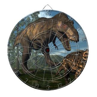 Tyrannosaurus rex attacking einiosaurus dinosaur dartboard