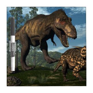 Tyrannosaurus rex attacking einiosaurus dinosaur dry erase board