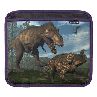 Tyrannosaurus rex attacking einiosaurus dinosaur iPad sleeve