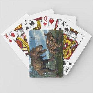 Tyrannosaurus rex attacking einiosaurus dinosaur playing cards