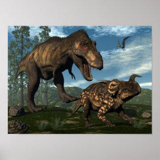 Tyrannosaurus rex attacking einiosaurus dinosaur poster