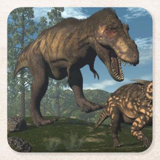 Tyrannosaurus rex attacking einiosaurus dinosaur square paper coaster
