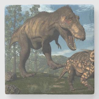 Tyrannosaurus rex attacking einiosaurus dinosaur stone coaster