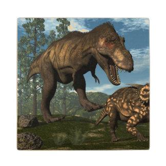 Tyrannosaurus rex attacking einiosaurus dinosaur wood coaster