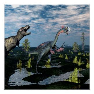 Tyrannosaurus rex attacking gigantoraptor dinosaur