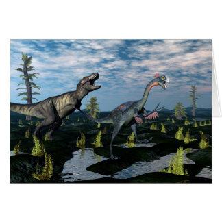 Tyrannosaurus rex attacking gigantoraptor dinosaur card
