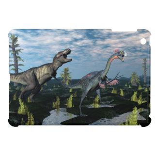 Tyrannosaurus rex attacking gigantoraptor dinosaur iPad mini cover