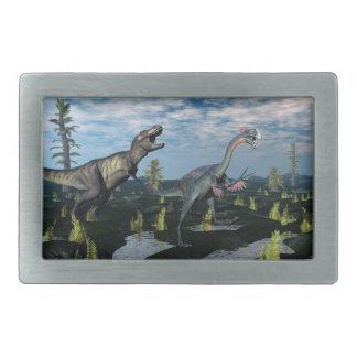 Tyrannosaurus rex attacking gigantoraptor dinosaur rectangular belt buckles