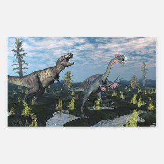 Tyrannosaurus rex attacking gigantoraptor dinosaur rectangular sticker