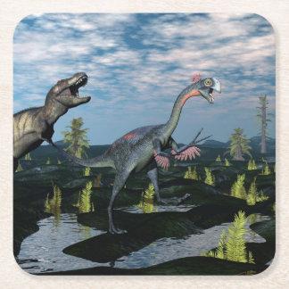 Tyrannosaurus rex attacking gigantoraptor dinosaur square paper coaster