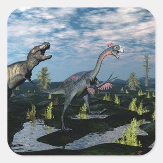 Tyrannosaurus rex attacking gigantoraptor dinosaur square sticker