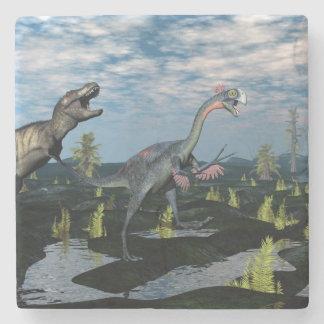 Tyrannosaurus rex attacking gigantoraptor dinosaur stone coaster