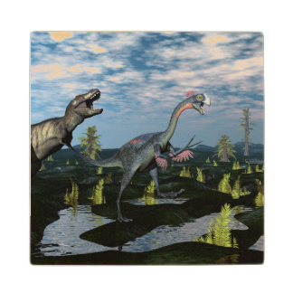 Tyrannosaurus rex attacking gigantoraptor dinosaur wood coaster