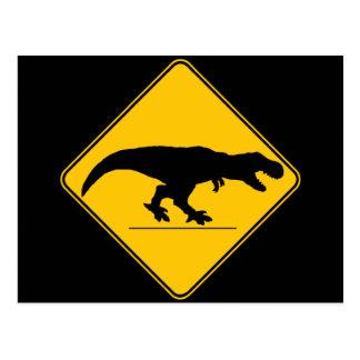 Tyrannosaurus rex crossing postcard