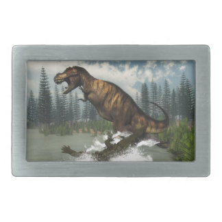 Tyrannosaurus rex dinosaur attacked by deinosuchus belt buckles