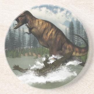 Tyrannosaurus rex dinosaur attacked by deinosuchus coaster