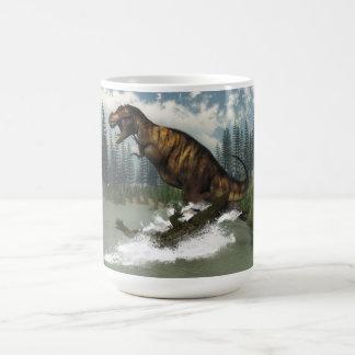 Tyrannosaurus rex dinosaur attacked by deinosuchus coffee mug