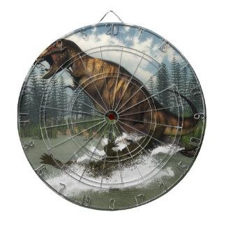 Tyrannosaurus rex dinosaur attacked by deinosuchus dartboard