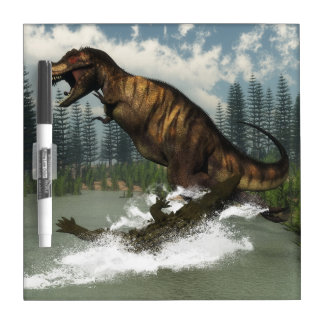 Tyrannosaurus rex dinosaur attacked by deinosuchus dry erase board