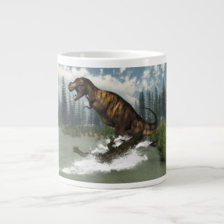 Tyrannosaurus rex dinosaur attacked by deinosuchus giant coffee mug