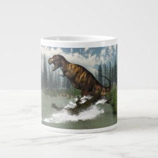 Tyrannosaurus rex dinosaur attacked by deinosuchus large coffee mug