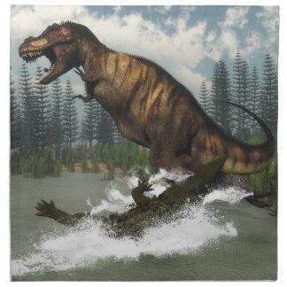 Tyrannosaurus rex dinosaur attacked by deinosuchus napkin
