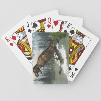 Tyrannosaurus rex dinosaur attacked by deinosuchus playing cards