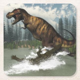 Tyrannosaurus rex dinosaur attacked by deinosuchus square paper coaster