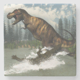 Tyrannosaurus rex dinosaur attacked by deinosuchus stone coaster