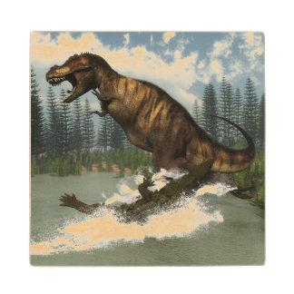 Tyrannosaurus rex dinosaur attacked by deinosuchus wood coaster