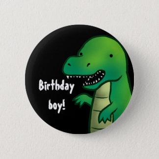 Tyrannosaurus Rex Dinosaur cartoon birthday badge