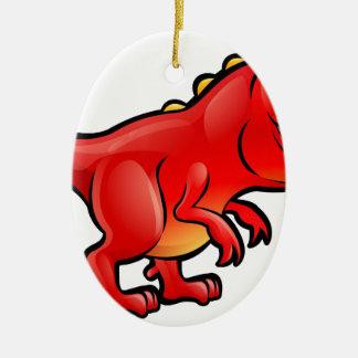 Tyrannosaurus Rex Dinosaur Cartoon Character Ceramic Ornament