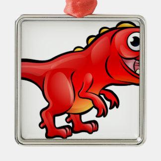 Tyrannosaurus Rex Dinosaur Cartoon Character Metal Ornament