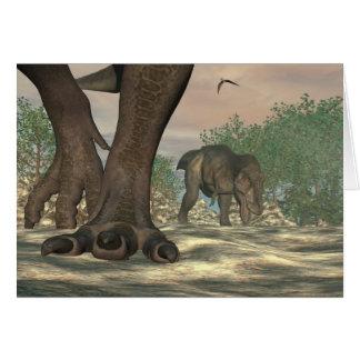 Tyrannosaurus rex dinosaur feet - 3D render Card