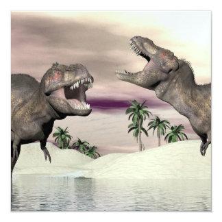 Tyrannosaurus rex dinosaur fight - 3D render Card