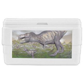 Tyrannosaurus rex dinosaur mum and baby- 3D render Chest Cooler
