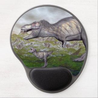 Tyrannosaurus rex dinosaur mum and baby- 3D render Gel Mouse Pad
