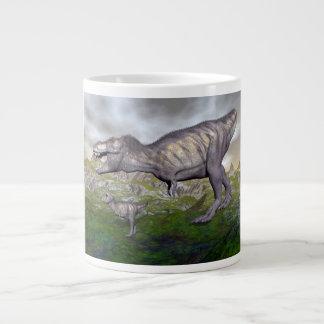 Tyrannosaurus rex dinosaur mum and baby- 3D render Large Coffee Mug