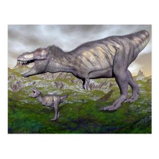 Tyrannosaurus rex dinosaur mum and baby- 3D render Postcard