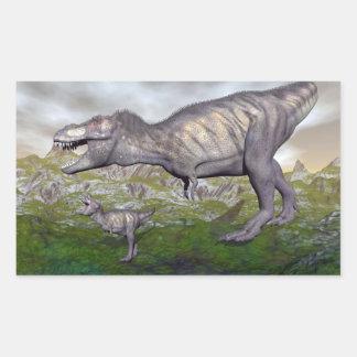 Tyrannosaurus rex dinosaur mum and baby- 3D render Rectangular Sticker