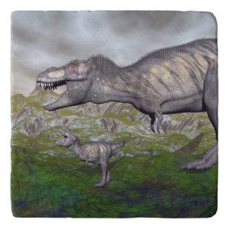 Tyrannosaurus rex dinosaur mum and baby- 3D render Trivet