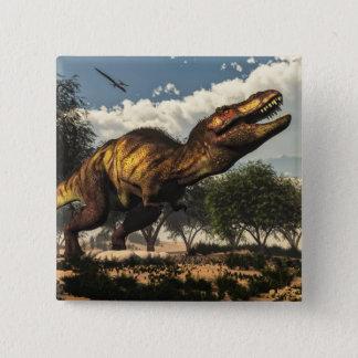 Tyrannosaurus rex dinosaur protecting its eggs 15 cm square badge
