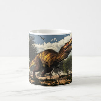 Tyrannosaurus rex dinosaur protecting its eggs coffee mug